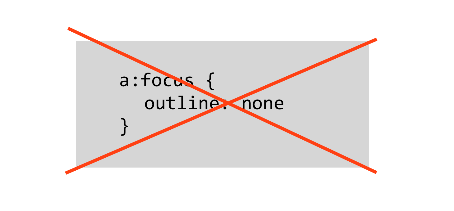 Don't use a:focus { outline:none }