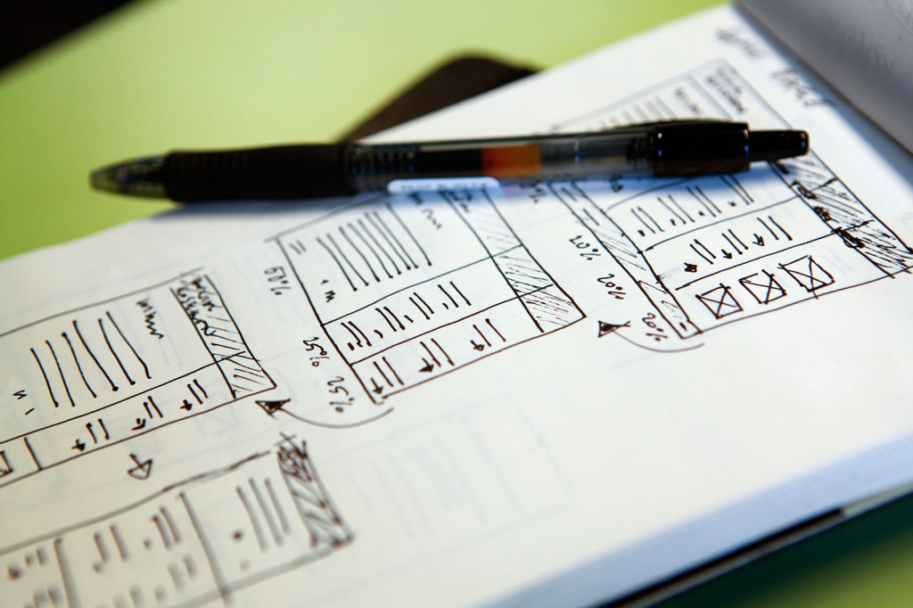 A notebook with the sketch of a responsive website