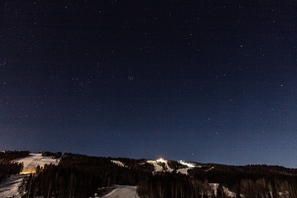 The Pleiades star cluster above Tahko Ski Center